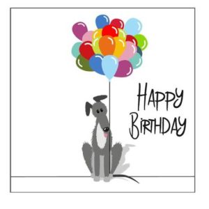 Lurcher birthday balloons