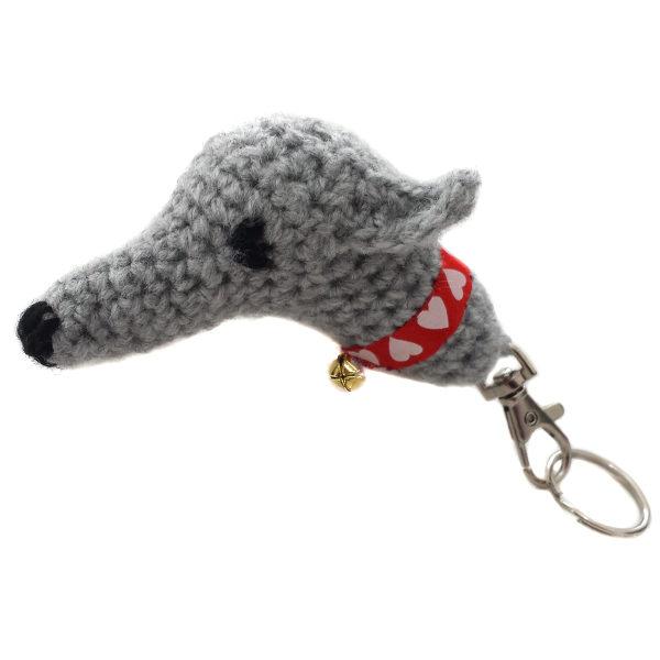 Crochet greyhound keyring