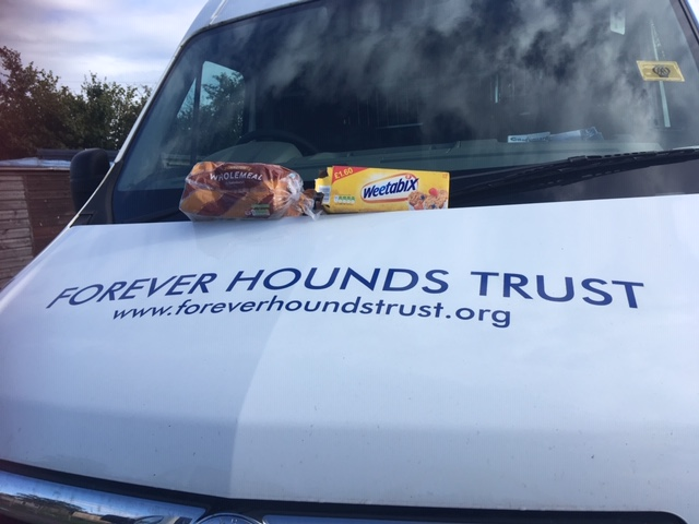 Forever Hounds Trust van with a loaf of bread and box of weetabix on the bonnet.