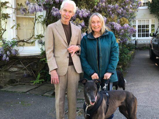 Charlie and Shirley Watts with greyhound Suzie