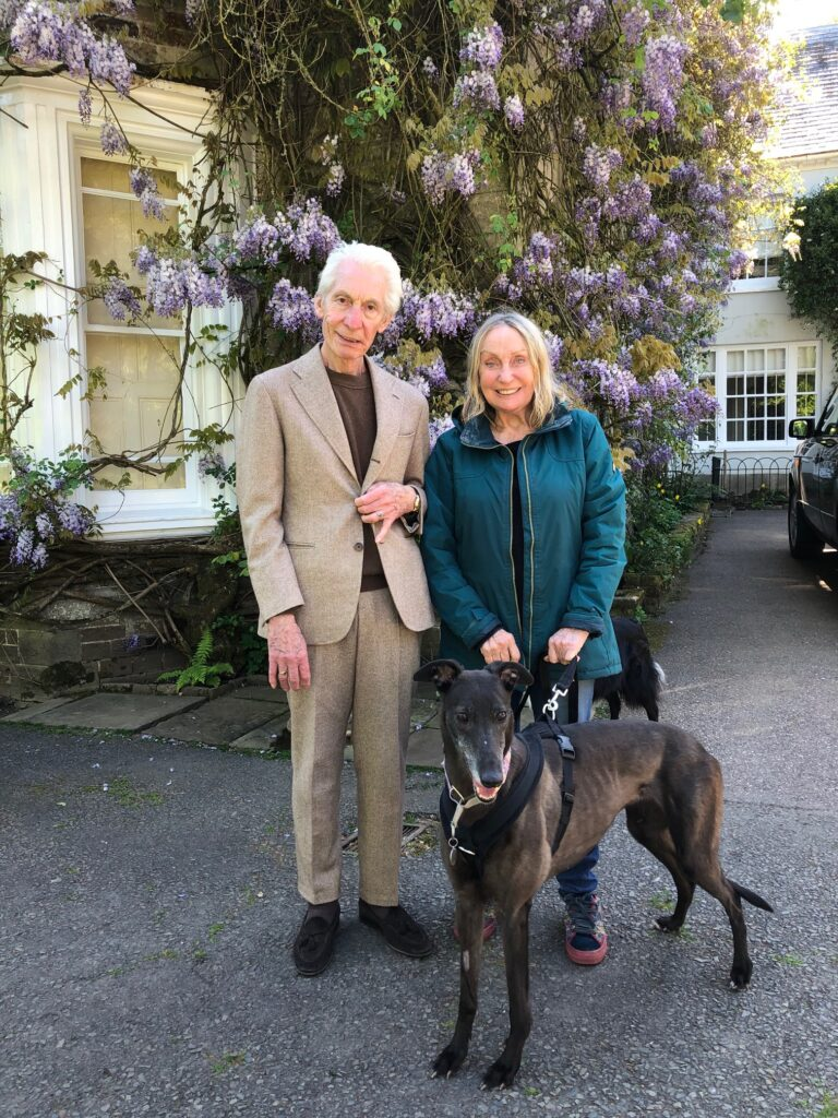Charlie and Shirley Watts with greyhound Suzie