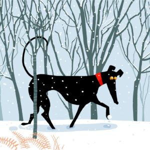 greyhound christmas card in the snow