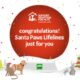 Support Adoption for pets santa paws logo. Red circle with pawprints