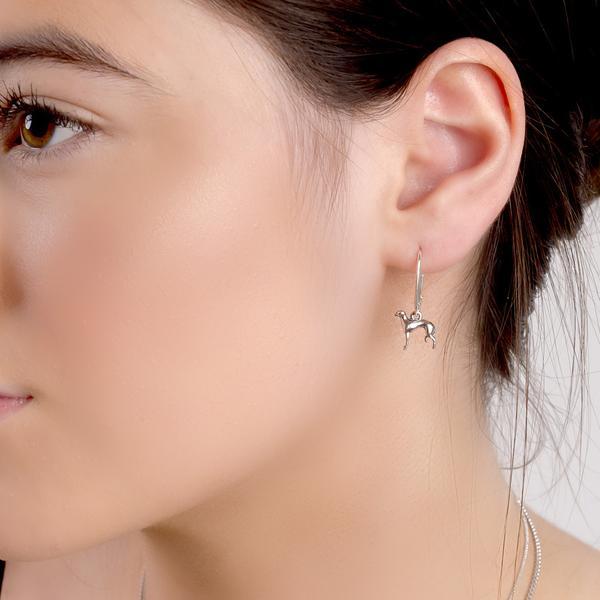 silver hound earrings