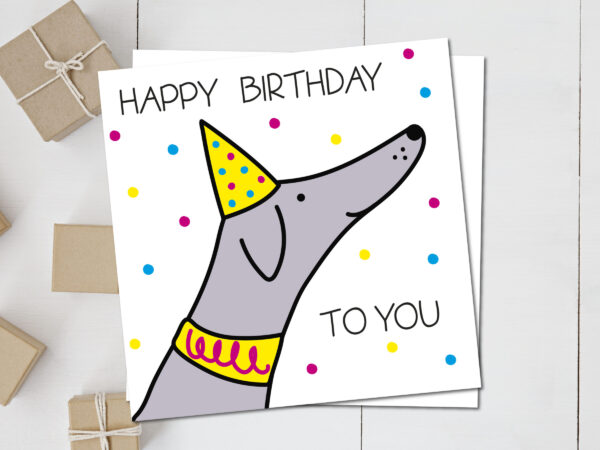 sighthound wearing party birthday hat card