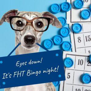 dog holding bingo sign