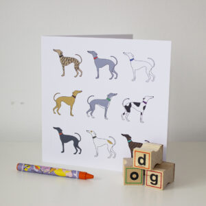 multicoloured whippets card