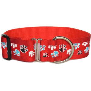red pawprint walking collar