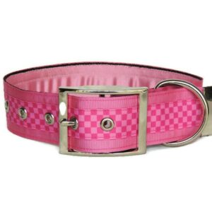 pink check luxury buckle collar