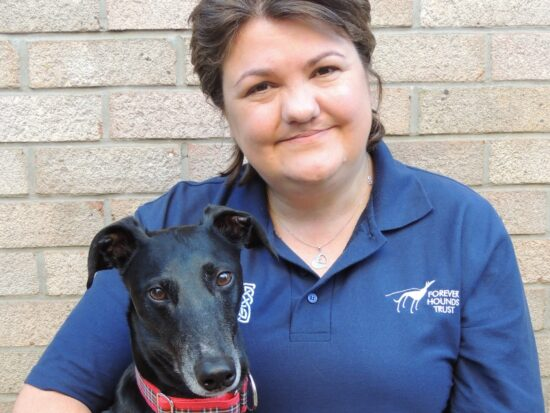 Tracey Carter with her lurcher