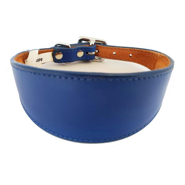 Blue leather sighthound collar