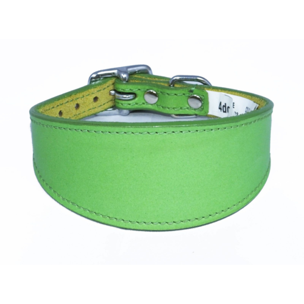 Green leather sighthound collar