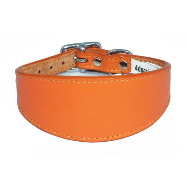 Orange leather sighthound collar