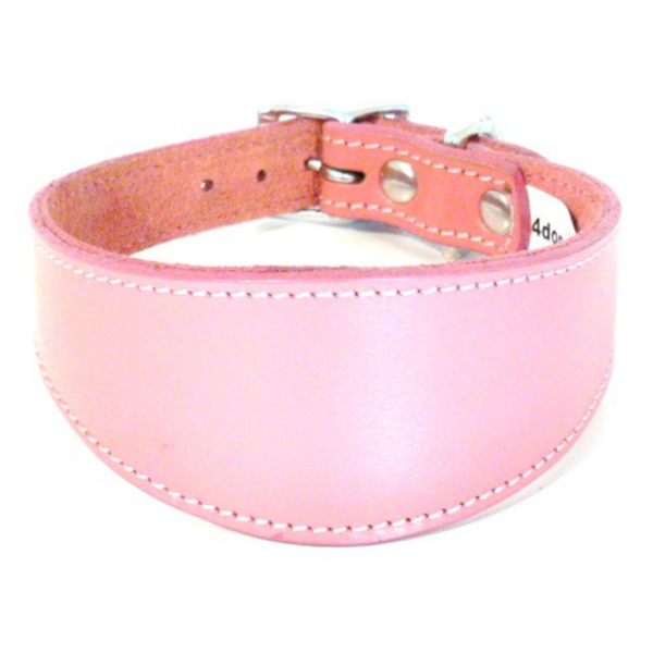 Pink leather sighthound collar