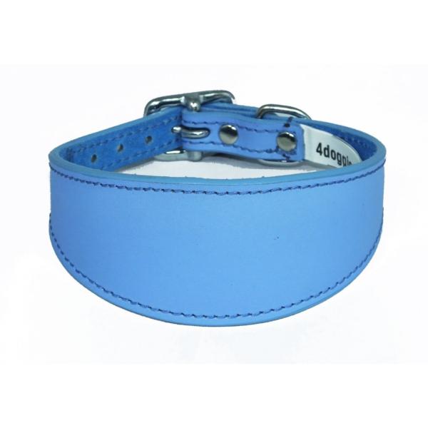 Sky blue leather sighthound collar